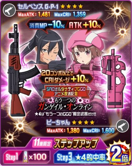 【もう一つのガンゲイル・オンライン】ピトフーイのモチーフ武器☆4【セルペンスG-P-1】(無・自動銃)ステータス