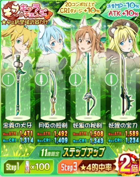 【モフっとキャラチェンジ♪】アリスのモチーフ武器☆4【妖狸の宝刀】(風・片手剣)ステータス