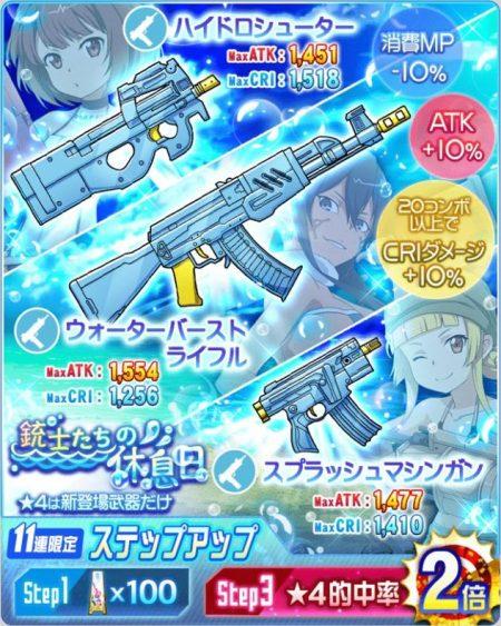 【銃士たちの休息日】ピトフーイのモチーフ武器☆4【ウォーターバーストライフル】(水・自動銃)ステータス